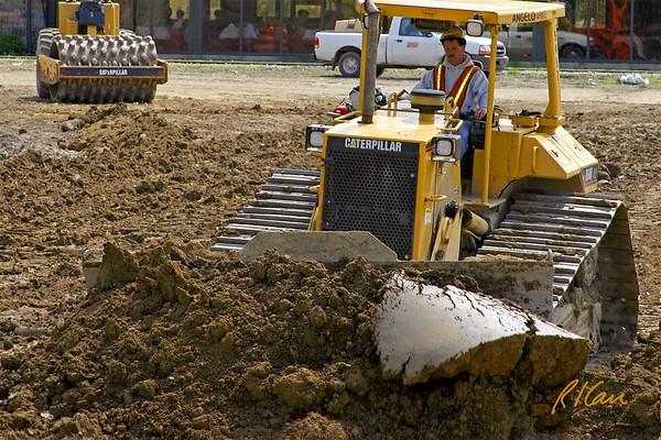 Earthmoving Construction Slides: dozer, scraper, grader, backhoe, trucks