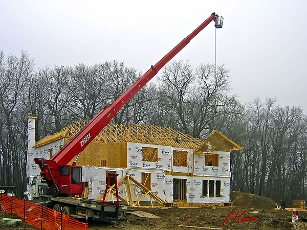 Wood Construction: frame, stick-built, frame, temporary support, floor, wall, truss, sheath, roof