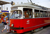 Passengers board trolley at Praterstern train station. Vienna, Austria. July, 2006.