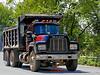 Mack dump truck with earth load. Groton, Massachusetts, 2007.